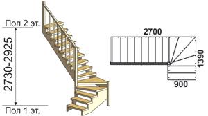 макет лестницы из массива дерева на второй этаж 11