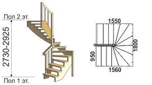 макет лестницы из дерева на второй этаж