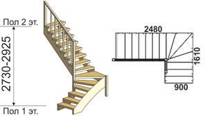 макет лестницы из массива дерева на второй этаж 10