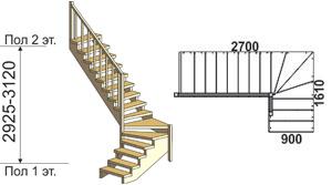 макет лестницы из массива дерева на второй этаж 7