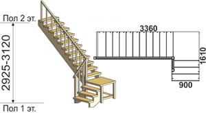 макет лестницы из массива дерева на второй этаж 6