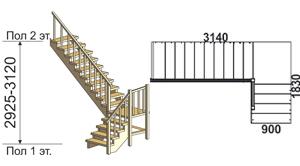 макет лестницы из массива дерева на второй этаж 5