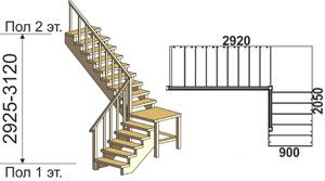макет лестницы из массива дерева на второй этаж 4