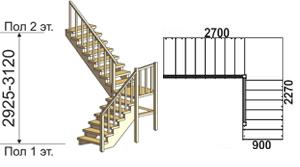макет лестницы из массива дерева на второй этаж 3