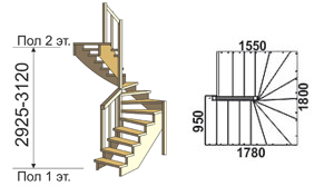 макет лестницы из дерева на второй этаж 3